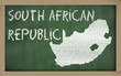 outline map of south africa on blackboard