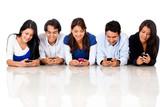 People texting on their phones