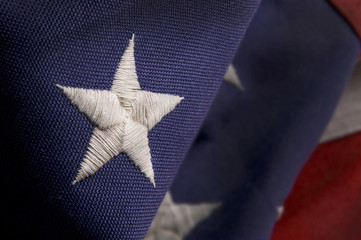 Closeup of a star on an America Flag