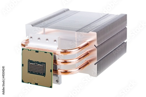 CPU and cooler with heatpipes isolated on white