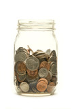 American coins in a glass jar