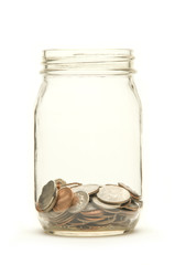 American coins in a jar