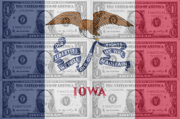 US state of iowa flag with transparent dollar banknotes in backg