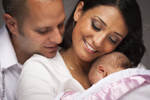 Mixed Race Young Family with Newborn Baby