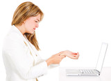 Businesswoman suffering carpal tunnel syndrome