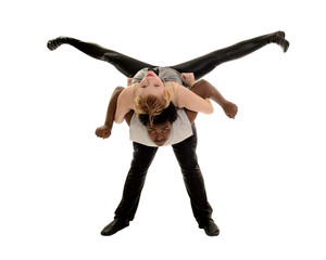 Male and Female Dancer Performing Jazz Dance Lift