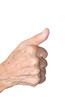 old woman hand  showing thumbs up sign against white background