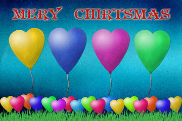 Balloon  mery christmas  recycled paper craft on paper backgroun