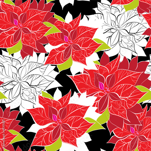 Seamless background with poinsettia
