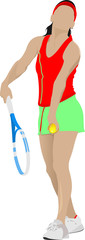 Woman Tennis player. Colored Vector illustration for designers