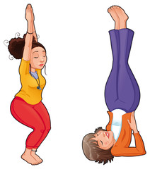 Yoga Positions. Vector isolated illustration.