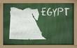 outline map of egypt on blackboard