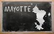 outline map of mayotte on blackboard