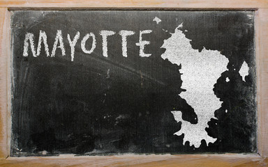 outline map of mayotte on blackboard