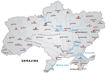 Übersichtskarte der Ukraine in grau