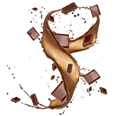 Chocolate bars in chocolate splash, isolated on white background
