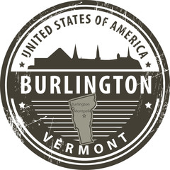 Stamp with name of Vermont, Burlington, vector illustration