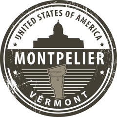 Stamp with name of Vermont, Montpelier, vector illustration