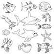 Family of funny fish. Vector black white characters.