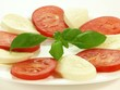 Caprese salad on plate, isolated