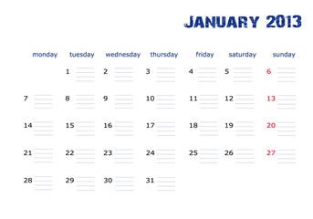 Calendario Enero 2013 en ingles