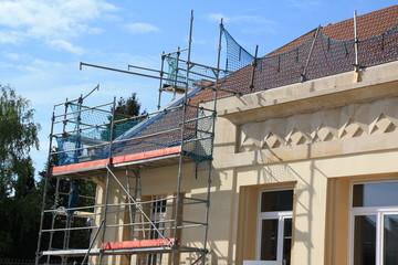 Chantier façade lotissement toiture maisons, hlm, ouvriers 2013