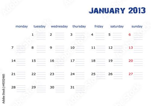 Vector: Calendario Enero 2013 en ingles