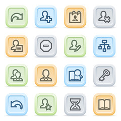 Users web icons on color buttons.
