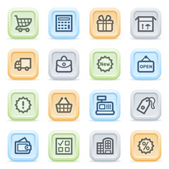 Shopping icons on color buttons.