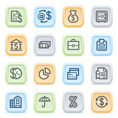 Finance icons on color buttons.