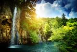Fototapete Hell - Cascade - Wasserfall / Schnellen / Geysir