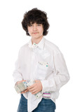 young guy holds batch of money