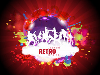 Retro colorful dance carnival on rays background and copy space