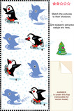 Match pictures to their shadows visual puzzle - skating penguins