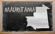 outline map of mauritania on blackboard