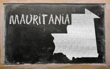 outline map of mauritania on blackboard