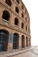 Detail of Plaza de toros (bullring) in Valencia, Spain. The stad