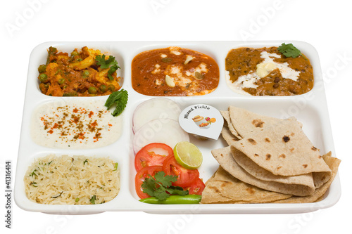 spicy Indian vegetarian Thali, food , Rajasthan, India