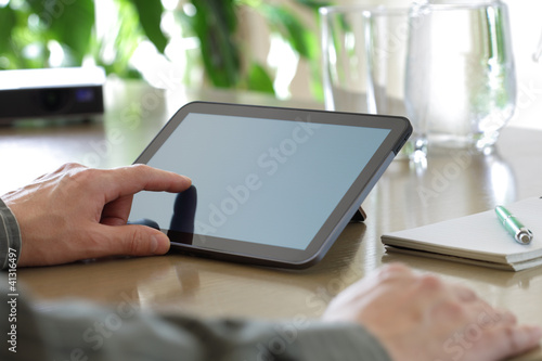 Touching screen of a digital tablet