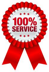 "Plakette ""100 % Service"" rot"