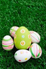 Easter eggs on grass - Bottom