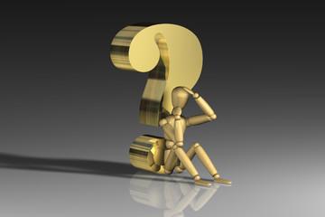 Holzpuppe Fragezeichen Gold