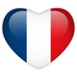 France Flag Heart Glossy Button
