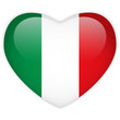 Italy Flag Heart Glossy Button