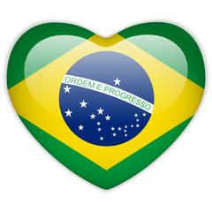 Brazil Flag Heart Glossy Button