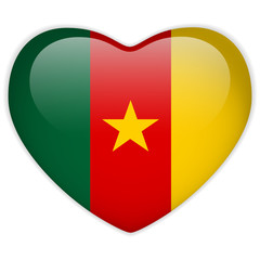 Cameroon Flag Heart Glossy Button