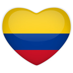 Colombia Flag Heart Glossy Button