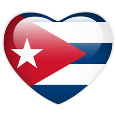 Cuba Flag Heart Glossy Button