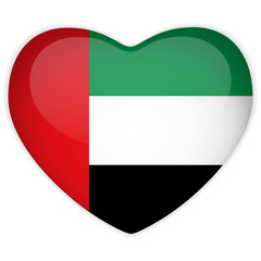 Emirates Flag Heart Glossy Button