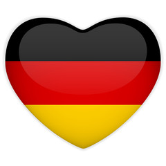 Germany Flag Heart Glossy Button